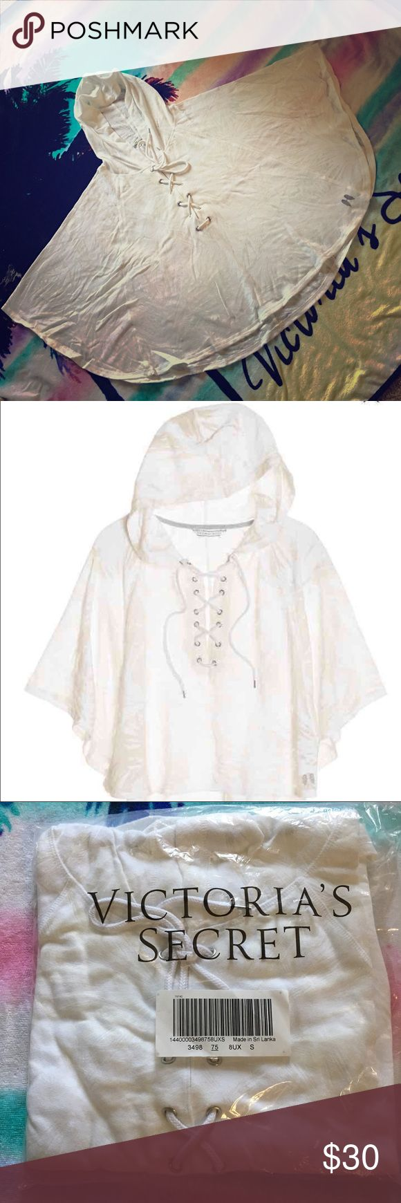 Today's Special! Victoria's Secret Ponchos New, never use and still on its original packaging!! Black color see through prints, soft, light and comfy cotton material hooded poncho with lace tie closure in the front, plus tiny angels wings detail on bottom. Perfect beach cover up. Original tag price was $69.95. Size S but fit M as well. Third photo shows a model wearing a ponchos with a different color. Color of the ponchos is White  Palm Burn Out. Victoria's Secret Sweaters Shrugs & Ponchos