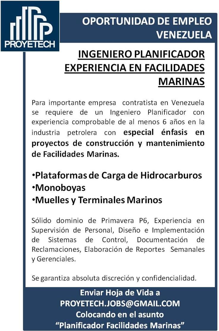 #Empleo #Venezuela Ingeniero Planificador Proyectos de Facilidades Marinas. Monoboyas, Plataformas de Carga, Terminales Marinos