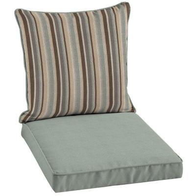 Patio Cushion Ideas   Hampton Bay Reversible Seaside Stripe 2 Piece Welted Outdoor  Chair Cushion