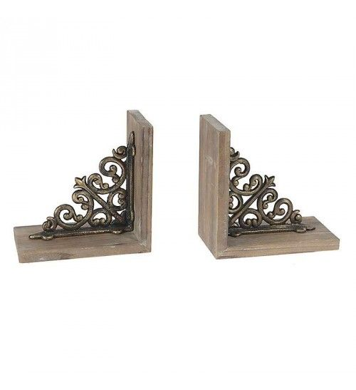 S_2 METAL_WOODEN BOOKEND IN BROWN COLOR 19(38)Χ10Χ29