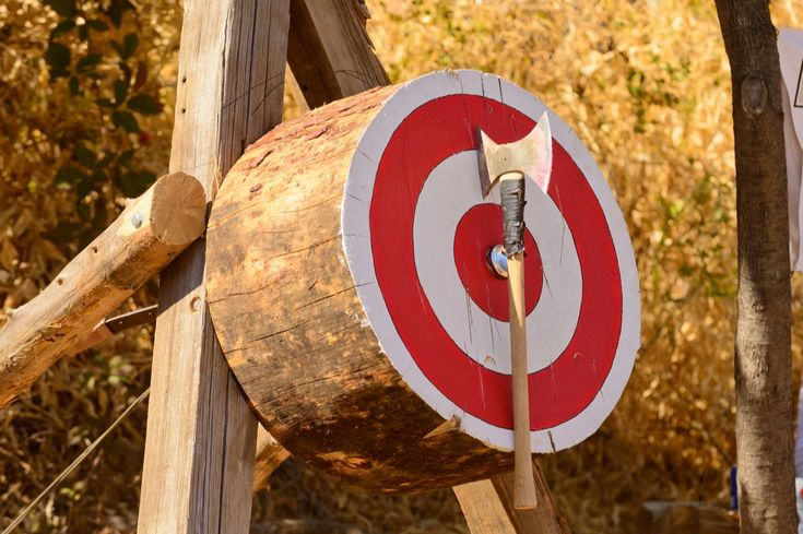 An ax lodged in a target at a lumberjack competition in Pigeon Forge