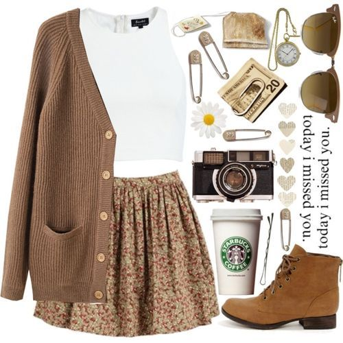 Cropped top, skirt, long camel cardigan and ankle boots.