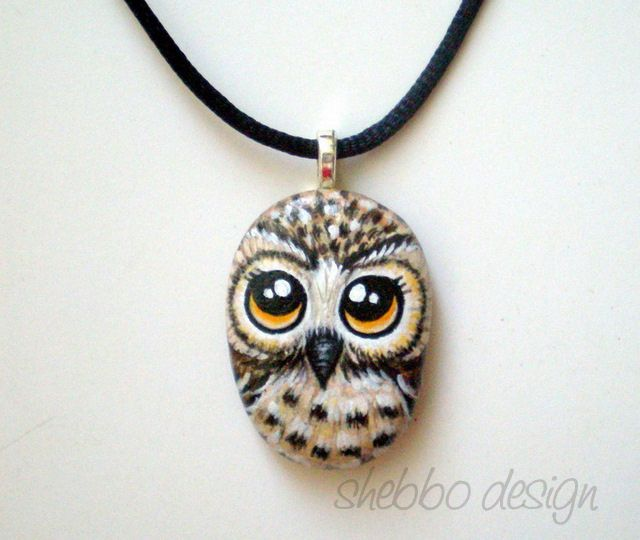 OWL Necklace - Painted on stone by ShebboDesign, via Flickr