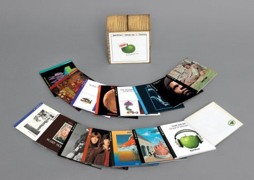 """Apple Records Box Set [17 CD Box Set]   Apple Records Box Set [17 CD Box Set] """"Contains all 15 Apple Catalog Remasters Plus 2 Additional Bonus CD's that contain additional tracks from each of the artists! Packaging: 15CD, 4 panel digipak's with 16 page booklet plus 2 additional CD's in digipak's with no book all in a folding box """"  http://www.musicdownloadsstore.com/apple-records-box-set-17-cd-box-set/"""
