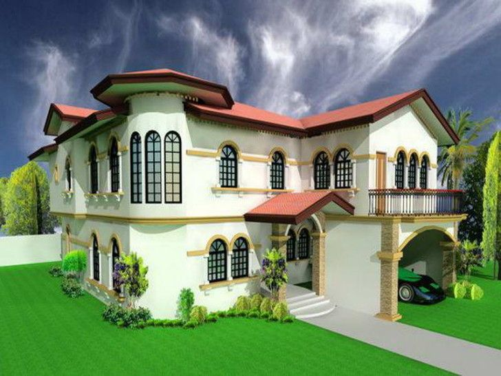 Architecture fresh virtual home design with green grass and red roof