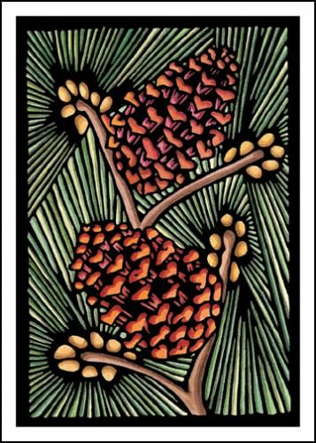 Pine Cones Blank Greeting Cards - Holidays, Christmas, Peace on Earth - Sarah Angst Fine Artist & Printmaker Original Designs - block print & watercolor images created and reproduced in Bozeman, Montana. #sarahangst Happy Holidays!