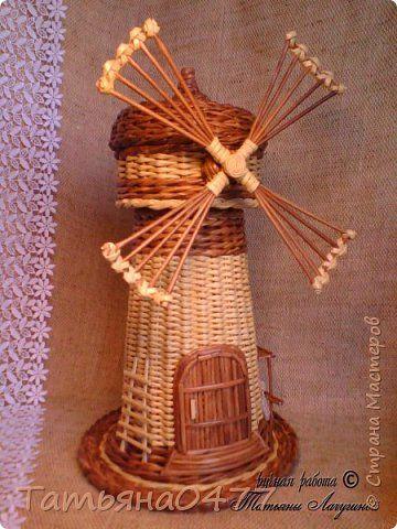 Поделка изделие Плетение Мельница по МК Любови Паньшиной Бумага газетная Трубочки бумажные фото 1