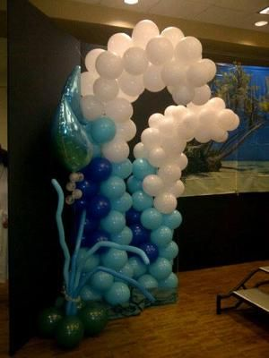 """Under The Sea"" Balloon Waves: This was a Summer Themed Fashion Show where the ladies wanted a beach theme or Under the Sea Theme for the stage decorations.  My phone battery died at"