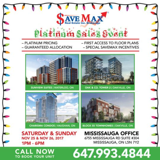 🎉 #HolidaySeason is on!! And so is our Exclusive Platinum Sales Event Featuring:  ✅ Sunview Suites | WATERLOO ✅ Oak & Co. Tower 2 | OAKVILLE ✅ Charisma Condos | VAUGHAN ✅ Block 55 | OAKVILLE  TO BOOK A UNIT IN ANY OF THESE PROJECTS, VISIT OUR SALES EVENT THIS WEEKEND OR GIVE US A CALL AT 647.993.4844