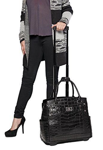 """The Classic"" Black Alligator rolling trolly laptop carryall bag! So sleek and timeless, The Classic is a showstopper that never goes out of style!"