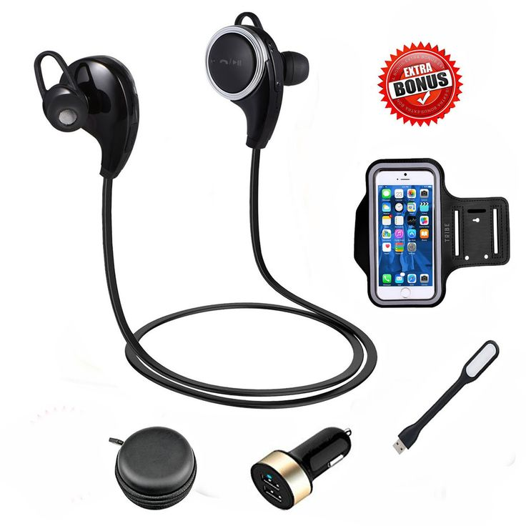 2016 CoolKo Newest Sport Wireless Bluetooth Stereo Sweatproof Headphone for Running Gym Exercise with Microphone for iPhone 7 7Plus 6 6s 6Plus 5s Samsung and all Android Phones with 3 bonus. Advanced Technology: With bluetooth 4.1 and apt-X tech, the headphones ensure high-fidelity stereo music and clear speech within 10 meters. Rated IPX Level 6 with Invisible nano-coating technology protect earbuds against sweat during running and workouts. High Quality Guarantee: Noise cancellation…