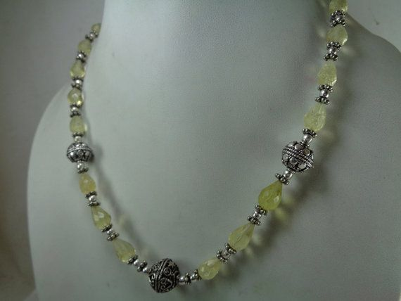Природные Лимонный кварц ожерелье 1479 карата. вышитый от GemsMart