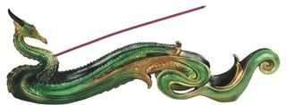 12.75 Inch Gold and Green Dragon Incense Burner - Asian - Home Fragrance - by StealStreet