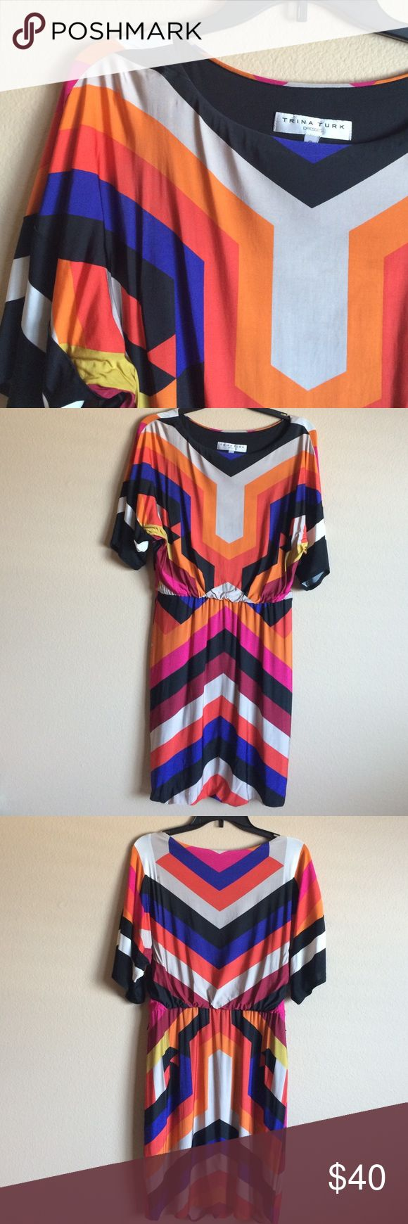 Fabulous Trina Turk Dress Size 6 Fabulous Trina Turk Dress Size 6 fully lined rayon polyester spandex blend Dry Clean Only length 36 1/2 inches Bustline 20in Trina Turk Dresses