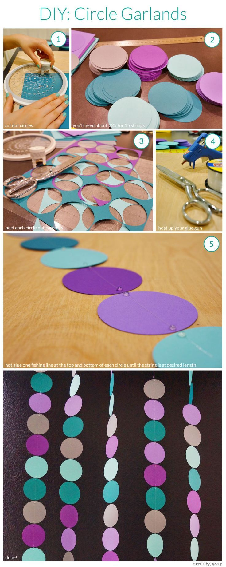 Circle garland DIY. This would also be a good idea for drapery behind dining table!  We could incorporate all the colors of baby's bedding into this.