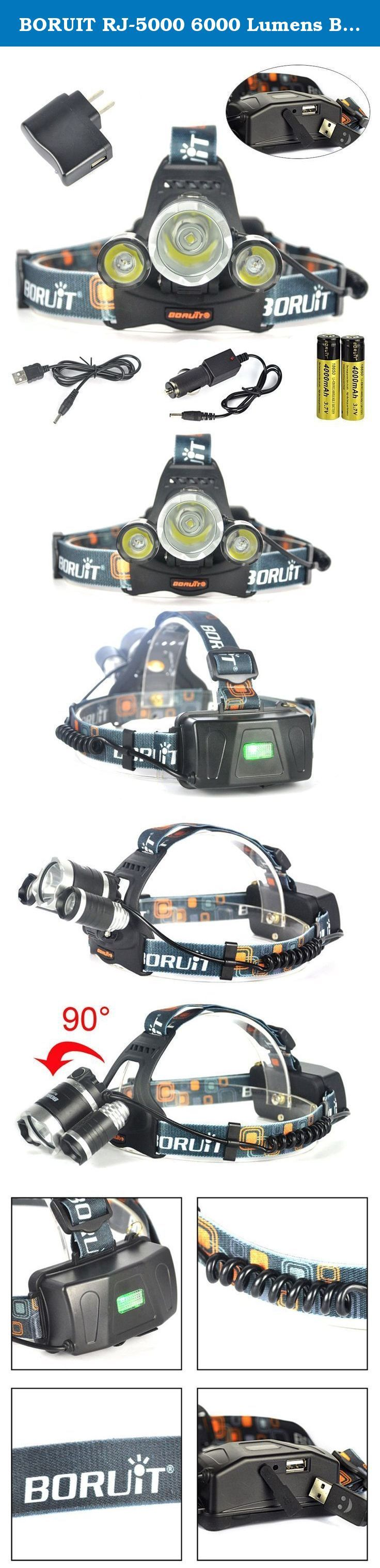BORUIT RJ-5000 6000 Lumens Bright Headlight Headlamp Flashlight Torch CREE XM-L2 3 T6 3T6 LED with Rechargeable Batteries & Wall Charger for Hiking Camping Riding Fishing Running Hunting. Our genuine BORUIT RJ5000 headlamp has 3 XML-L2 LED super bright lights which are suitable for many different needs. In addition, the headlamp comes with an adjustable base which will enable you to change the light direction freely. It is suitable and highly recommended for many outdoor activities...