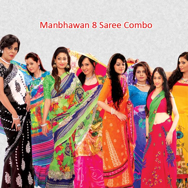 Manbhawan 8 Saree Combo - Makes a woman look graceful, stylish, elegant and sensuous. To Book Your Order Call Us @  09312100300
