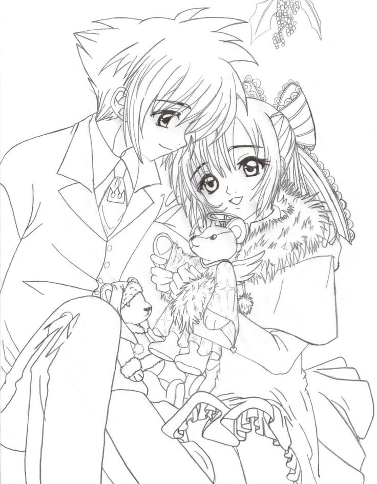 Anime Art Worksheet : Anime coloring pages christmas couple colouring