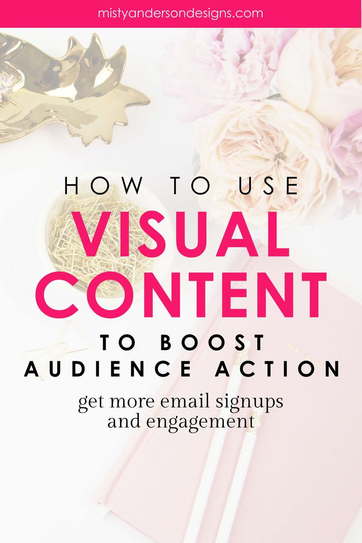 Visual content has the ability to make your audience take action. Like sign up for email list, make a purchase, or share your content. Learn how to use visuals to make a big impact on your audience. branding | brand design | brand identity design | brand you blog | brand yourself | visual content | visual content strategy | social media tips | email marketing | email marketing tips | #visualcontentstrategy #smallbusinesstips #bloggingtips #socialmediatips