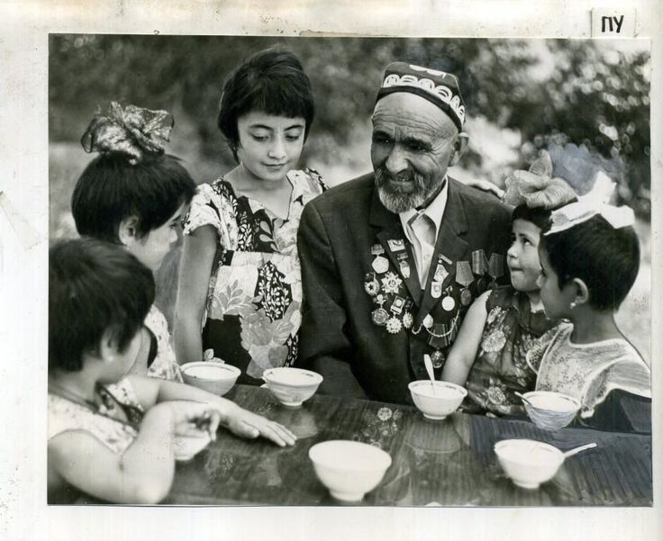 Soviet Russia Kazakhstan Real Photo Middle Asia Veteran WW2 and Children Tea | eBay