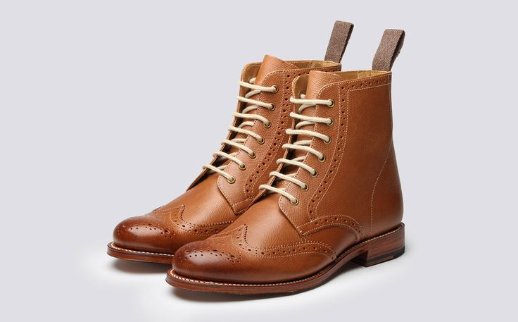Womens Derby Boot in Tan Alpine Grain Leather with a Leather Sole | Ella | Grenson Shoes - Three Quarter View