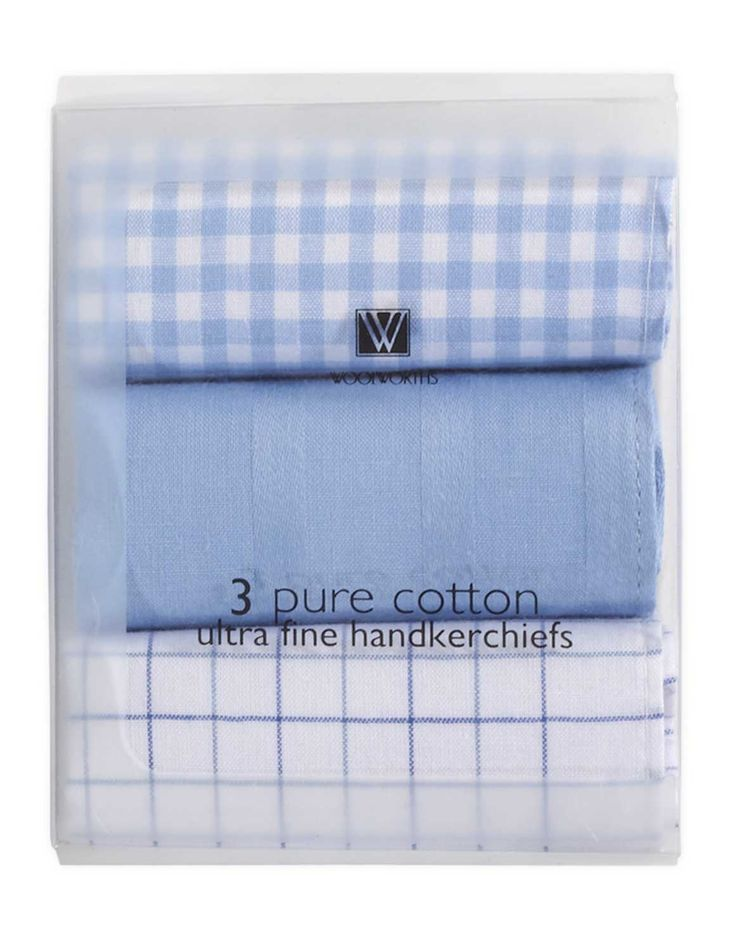 Check Cotton Handkerchiefs: 3-pack
