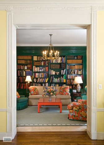View From A Buttery Yellow Living Room Into Glossy Green Library At 755 Park Avenue