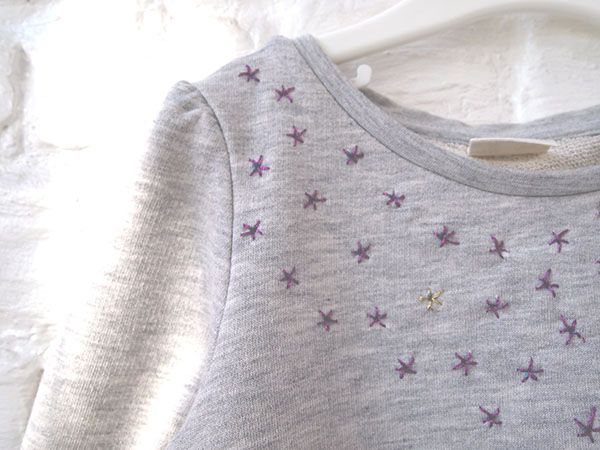 Tuto custo : étoiles brodées sur un sweat, pull, robe...