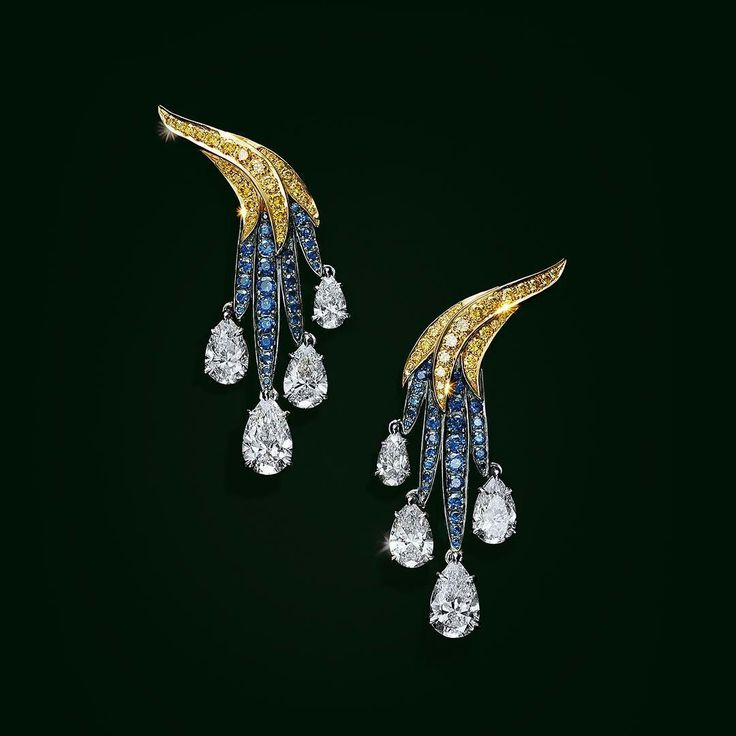 #TiffanyBlueBook: Tiffany's master designers selected perfectly hued sapphires and round yellow diamonds to bring nature's soaring creatures to life in these earrings that emulate birds' feathers.  #Tiffany #TiffanyAndCo #CoutureJewels