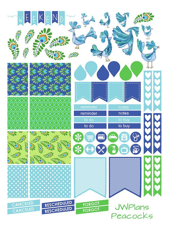 PRINTABLE Erin Condren Planner Peacocks by PricklyPearDesignCo