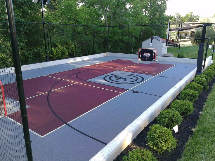 Multi sport game court backyard hockey pinterest for Backyard multi sport court