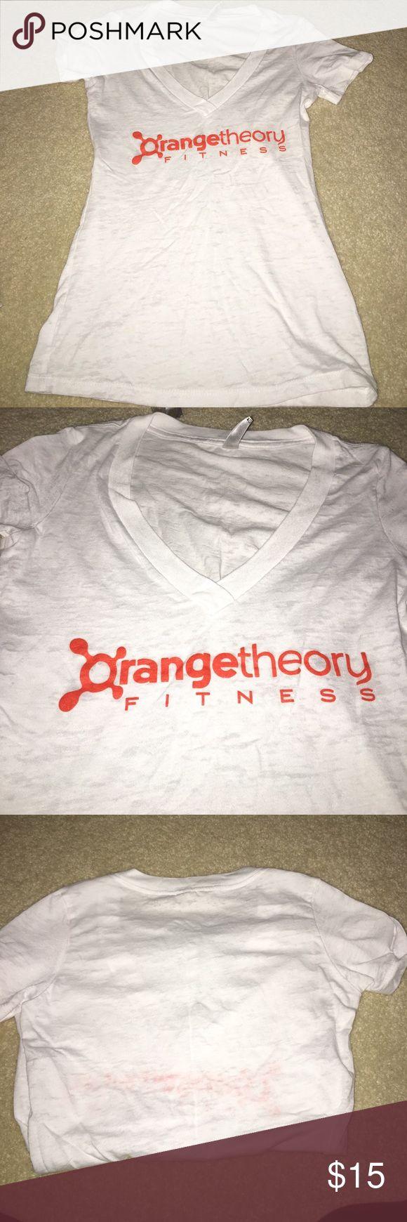 Orange Theory Fitness Top Sheer white v neck. Perfect condition!!! Orange Theory Fitness Tops