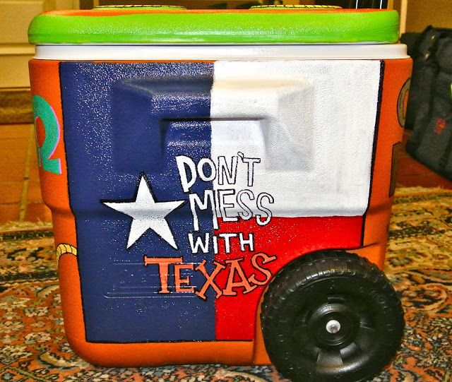 """""""Don't Mess with Texas"""" TX-OU weekend coolers painted by B.KRAFTY DESIGNS @b kelm #texas #cooler"""