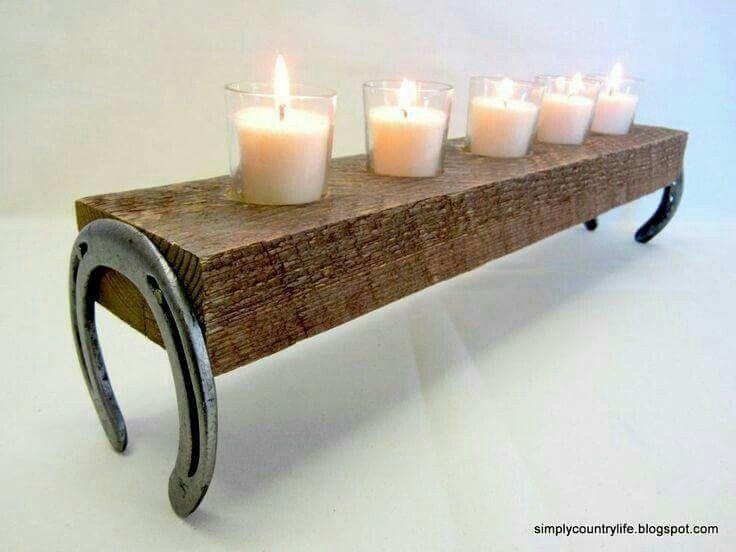Horse shoe candle holder