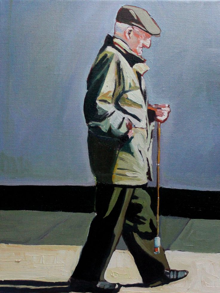 FINEARTSEEN - Stepping Out by Emma Cownie. A beautiful portrait painting in oil of a man walking down the street. Available on FineArtSeen - The Home Of Original Art. Enjoy Free Delivery with every order. << Pin For Later >>