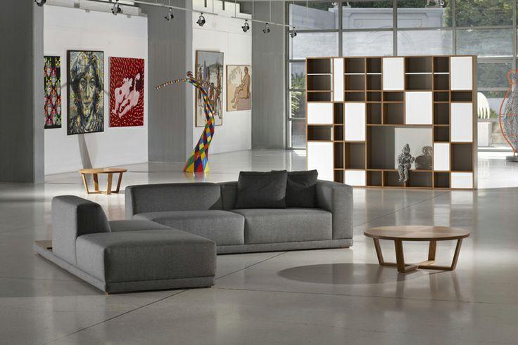 modern corner sofa Foglio and bookcase Metropolitan
