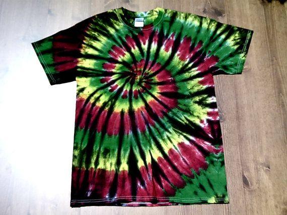 Rasta Tie Dye T Shirt   Double Spiral  Sizes S  by theTieDyeBandit, $23.00