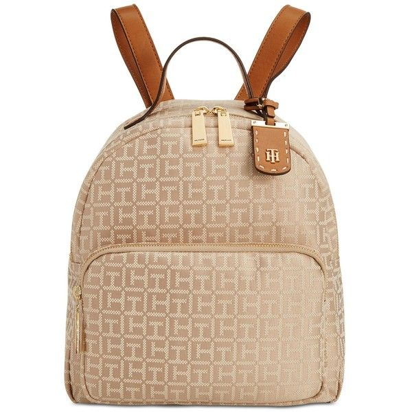 Tommy Hilfiger Julia Monogram Jacquard Dome Backpack (€110) ❤ liked on Polyvore featuring bags, backpacks, dome bag, monogrammed backpacks, tommy hilfiger bags, tommy hilfiger and knapsack bag