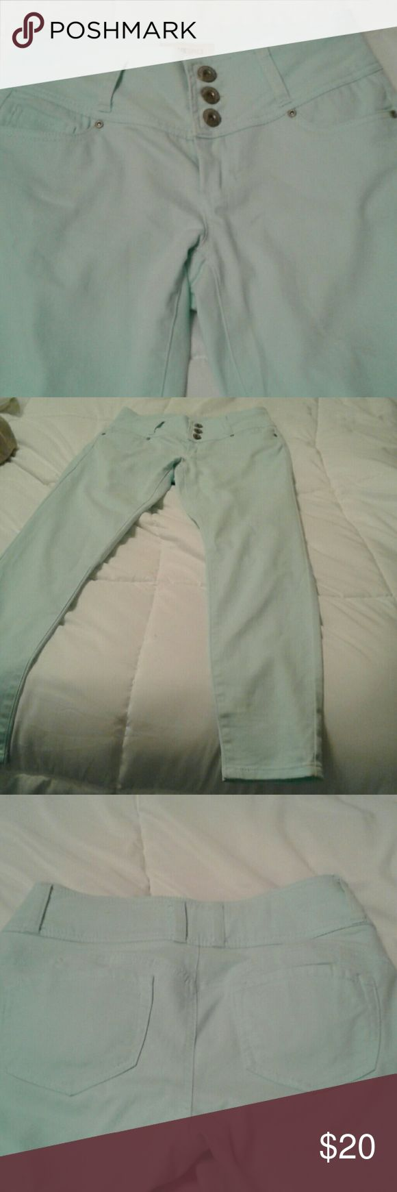 """""""Blue Spice"""" Mint Green Jeans/Pants.  Cute! 5 68% cotton, 30% polyester, 2% spandex.  Fabric mixture gives a brushed cotton soft feel, cut is flattering 2 any shape body, all pockets are functional.  Material is forgiving if a couple of pounds are gained.  Flattering, unique cut and design. Blue Spice Jeans Straight Leg"""
