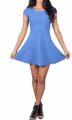 Cute figure hugging yet flowy skater dress features cap sleeves and a rounded neckline. Mood: Event Fabric: 95% Rayon 5% Spandex Fit: Slightly Fitted, Stretchy