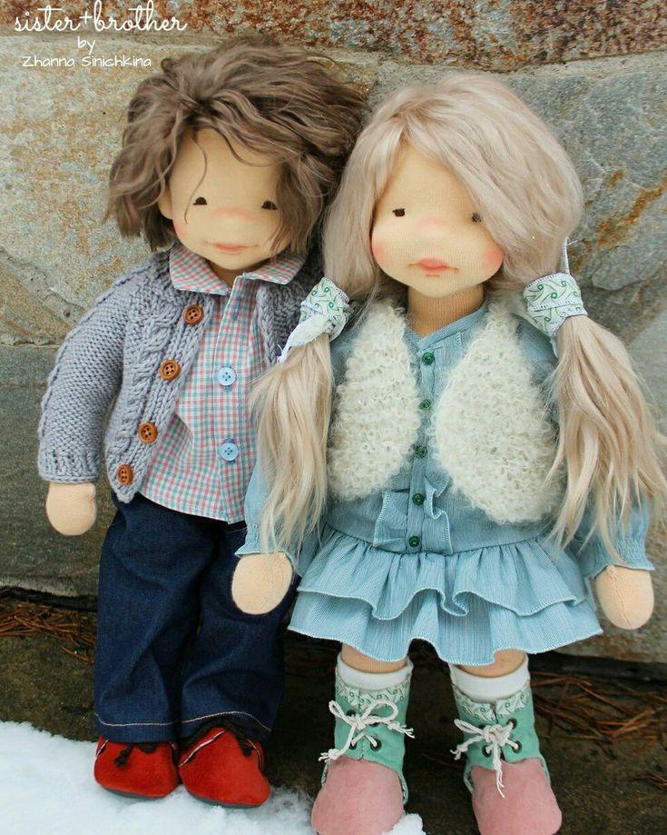Купить Sister+brother - кукла, вальдорфская игрушка, вальдорфские куклы, мальчик и девочка, шерсть 100%