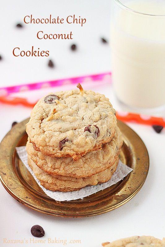 chocolate chip coconut cookies recipe from Roxanashomebaking.com