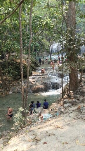 Tourist chilling at Erawan National Park. Thailand