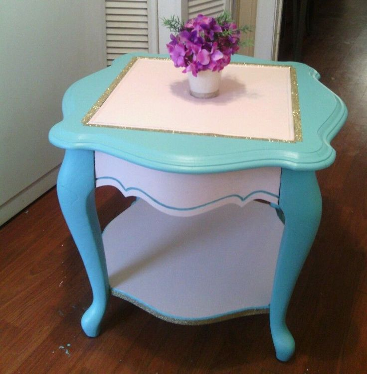 Antique Coffee Table Vintage Solid Wood Refinished Shabby Chic Pink