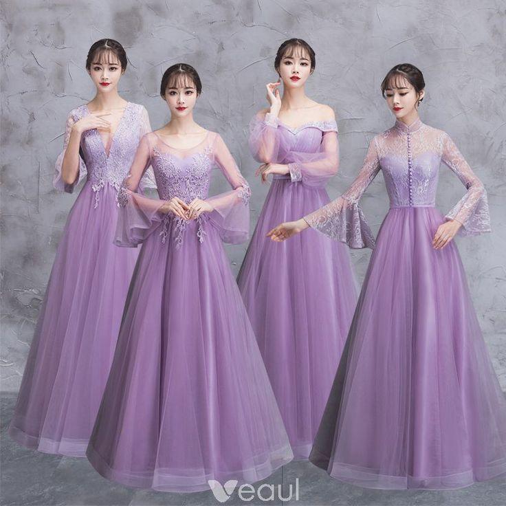 eleganckie liliowy przezroczyste sukienki dla druhen 2018