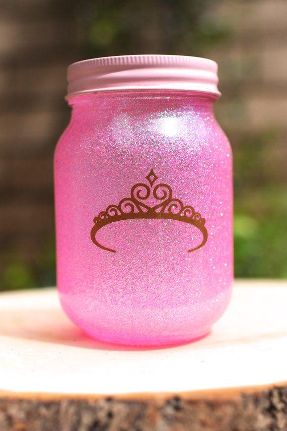 Tinted Glitter Mason Jar - Disney Princess Aurora/Sleeping Beauty Inspired on Etsy, $7.50