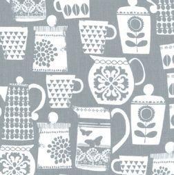 Michael Miller - Put a lid on it, Gray - Warp & Weft   Exquisite Textiles
