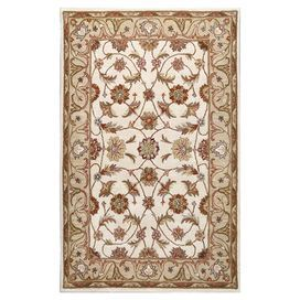 Hand-tufted wool rug with a floral Persian motif.  Product: RugConstruction Material: WoolColor: IvoryFeatures: Hand-tufted Note: Please be aware that actual colors may vary from those shown on your screen. Accent rugs may also not show the entire pattern that the corresponding area rugs have.