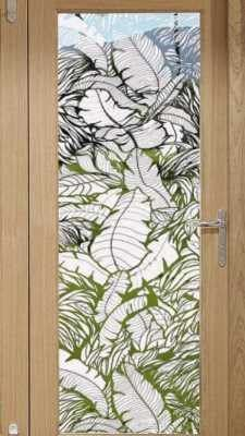 The Tropical Leaves etched window film adds considerable privacy but still allows some visibility through the film. All areas between the leaves are clear while the leaves are frosted. The Tropical Le