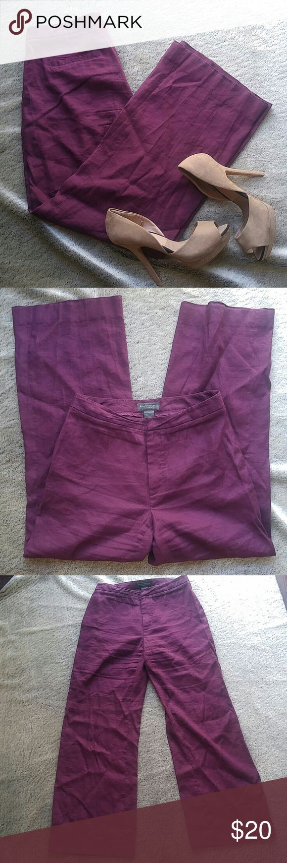 """Banana Republic stretch linen trouser Women's trouser in a deep plum purple. Size 4, with some stretch.  60% linen 38% rayon 2% spandex 29"""" inseam Excellent condition. Banana Republic Pants Trousers"""